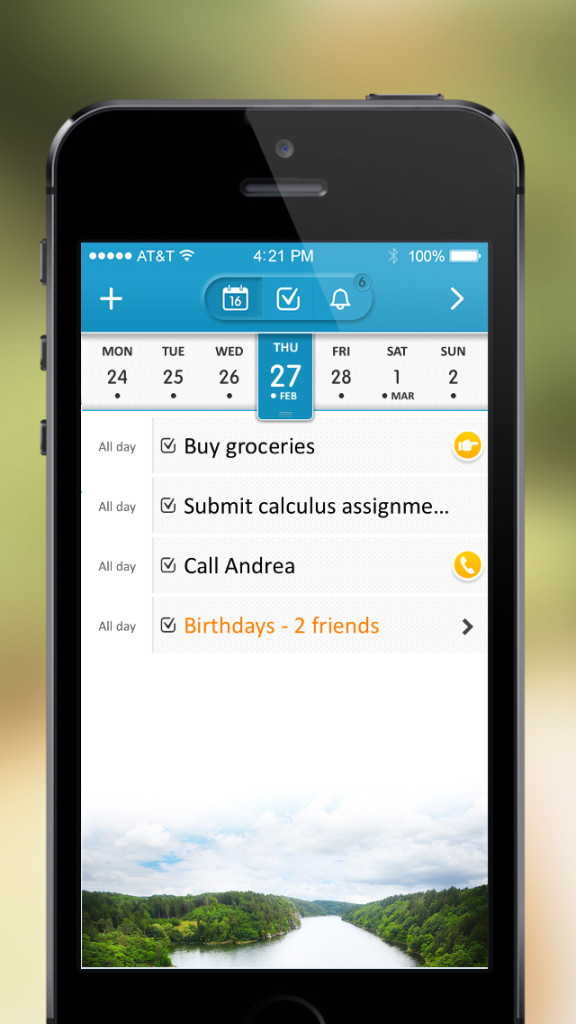24me - 5 - new Agenda-List view with task completion buttons
